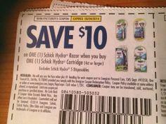 20 $10 Off 1 Schick Hydro RAZOR WHEN YOU BUY 1 CARTRIDGE Exp 5.4.14 LAST ONE!!!!
