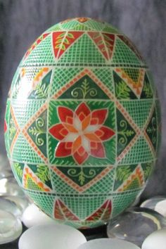 Duck Egg Pysanka by Ukrainian Pysanky Artist Katrina Lazarev. Just beautiful!