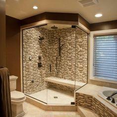 Corner walk in shower idea, master bath! | Home Ideas | Pinterest