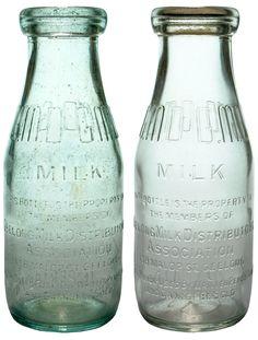 GMD - Geelong Milk Distributors Association Malop St Geelong. Pint Milk bottle variations.