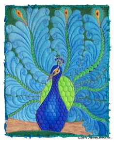 Fabulous peacock quilt for A! Love the feathering! Longarm Quilting, Free Motion Quilting, Machine Quilting, Peacock Quilt, Peacock Art, Peacock Painting, Peacock Colors, Peacock Theme, Vogel Quilt