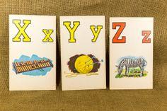 X Y Z  Vintage Flash Cards