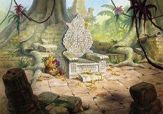 The Jungle Book (1967) painted animation backgrounds