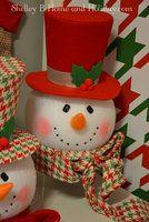 Snowman head Christmas tree topper. Shelley B Home and Holiday.com