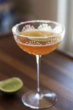 Bourbon Tamarind Sidecar - Bourbon, Tamarind Syrup (Recipe), Cointreau, Sugar Rim.