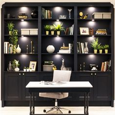 From studies to kitchens, dark interiors are more popular than ever. Use our Fairford Navy cabinets to bring this ever-growing trend into any room in your home. Home Library Design, Home Office Design, Home Office Decor, Home Interior Design, Dark Home Decor, Office Ideas, Black Office Furniture, Built In Furniture, Home Decor Furniture