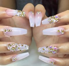 Clear nails with a sparkly twist. Almost look ombré.