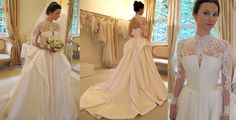 Lace sleeve with open back added to strapless wedding dress