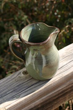 Pottery Creamer Pitcher in Green Glaze by Beaverspottery on Etsy, $16.00