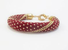 Beaded crochet rope bracelet beadwork red gold by DwarfsTreasure