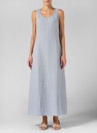 Linen Scoop Neck Sleeveless Long Dress