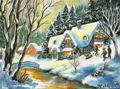 Original ACEO Christmas  Winter Frolic Vintage River USA Cottage Bridge Mishkova