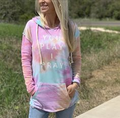 YPIP Lightweight Tie-Dye Hoodie   You Play I Pray Volleyball Mom Shirts, Baseball Mom Shirts, Tie Dye Hoodie, Pray, Fitness Models, Hoodies, Sweaters, How To Wear, Sweater