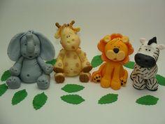 Edible Fondant Cake Toppers  Elephant Giraffe by SugarDoughDesigns,