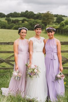 Lilac Purple Pink Long Bridesmaid Dresses Long Quirky Country Barn Wedding Pug Dog http://aledgarfieldphotography.co.uk/