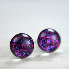 post earrings in sparkly plum - 8mm. $18.00, via Etsy. --- I want these earrings now!!