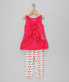 Take a look at this Fuchsia Tunic & Polka Dot Leggings - Infant by Calvin Klein Jeans on #zulily today!