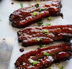 Sticky Chinese Barbecue Pork Belly (Char Siu) - Cafe Delites #bacon #recipes #delicious #foodie #ideas