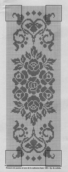 Filet crochet chart for a rose |