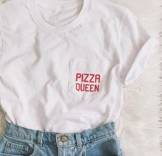 Pizza Queen T-Shirt | Tee with Pizza Queen on Pocket