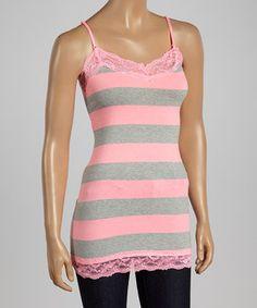 Look at this #zulilyfind! Heather Gray & Neon Pink Stripe Lace Camisole by Zenana #zulilyfinds
