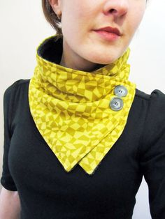 Items similar to Yellow and Ochre Geometric Shapes Neck Warmer Scarf on Etsy