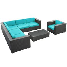 Found it at Wayfair - Corona 7 Piece Seating Group in Espresso with Turquoise Cushions
