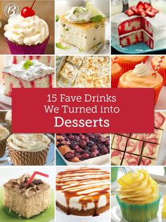 The flavors of sweet drinks (both kid-friendly and grown-ups-only), translated into irresistible desserts! From margaritas to root beer floats, we've packed 15 amazing drink-inspired desserts into one place. We dare you to try all of them!
