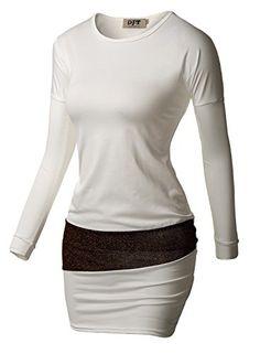 DJT Damen Langarmshirt Rundhals Longshirt Basic Pulli Tunika Stretch Weiss  XL