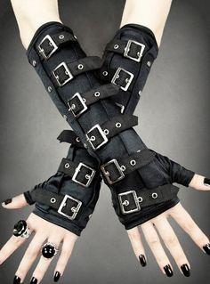 Armstulpen Handschuhe Gothic Gloves Steampunk Cyber Punk Military Schwarz | eBay