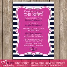 Tying the Knot Nautical Bridal Shower Invitations  by TeAmoCharlie