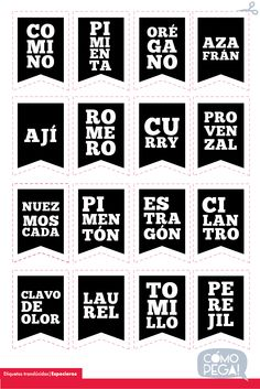 Plancha de etiquetas para especieros Kitchen Labels, Pantry Labels, Home Crafts, Diy And Crafts, Paper Crafts, Photo Transfer, Diy Box, Paper Background, Diy Projects To Try