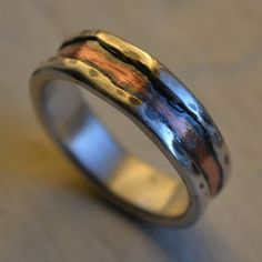 rustic fine silver and copper ring  handmade by MaggiDesigns, $140.00