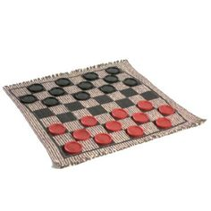 This reversible rug gives folks 3 great ways to have fun – Checkers, Tic Tac Toe, and Super Tic Tac Toe! Made from recycled materials, the rugs are hand-woven on looms that date back to the Perfect for a night in doors during the cold winter weather! Cracker Barrel Store, How To Play Dominoes, Old Country Stores, Tic Tac Toe, Bbq Party, Canister Sets, Family Game Night, Game Pieces, Last Minute Gifts