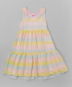 6fe36336 Lipstik Girls Yellow & Pink Stripe Sequin Racerback Dress - Toddler & Girls