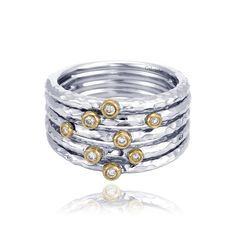 Sterling silver & 18kt yellow gold diamond fashion ring.