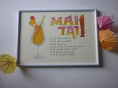 Ingrédients du cocktail Mai Tai : Affiches, illustrations, posters par la-p-tite-sophie