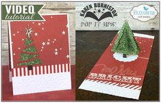 Karen Burniston using the Pop it Ups Christmas Trees Pop Stand, Damask Embossing Folder and scalloped circle die from the Circle Accordion die sets by Karen Burniston for Elizabeth Craft Designs. A video tutorial for this card is on the blog post.