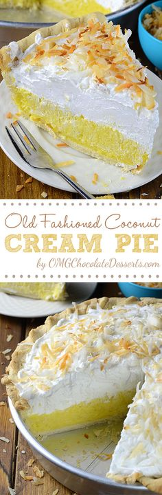 Old Fashioned Coconut Cream Pie is fluffy and creamy homemade pie, loaded with coconut flavor, like your grandmas used to make.