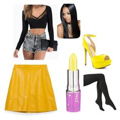 """Black and yellow"" by jason-becz ❤ liked on Polyvore featuring Zara, Lime Crime, Via Spiga and ALDO"