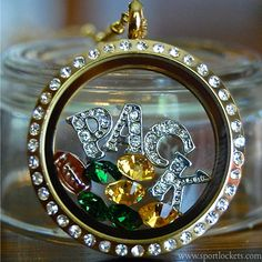 Green Bay Packers football locket necklace – SportLockets.com. Packers + Sparkles = <3
