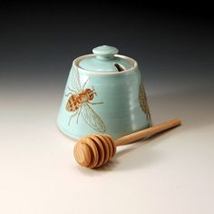 "Honey pot green glaze with bees buzzing by emilymurphy on Etsy, $45.00 Love this! How ""sweet""!"
