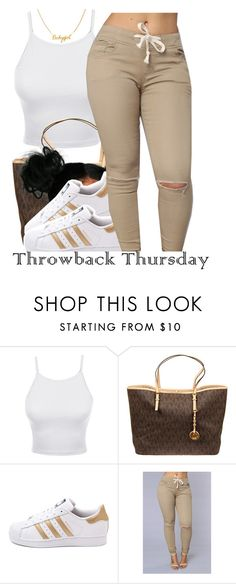 """I'm all the way up! :)"" by trinityannetrinity ❤ liked on Polyvore featuring LE3NO, MICHAEL Michael Kors and adidas"