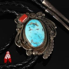 OLD 1970's vintage sterling silver BOLO tie Kingman turquoise Navajo jewelry