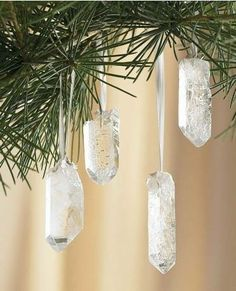 What a GOREGOUS idea! A Yule tree decorated with quartz crystals!   www.workingwitche... & www.sacredmists.com