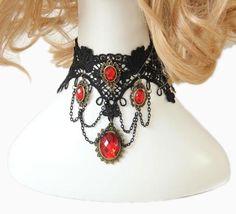 Black Fake Collar Black Lace Alloy Pendant Vintage Necklace Dangle