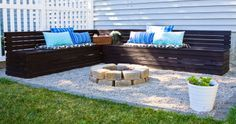 firepit with benches and pea gravel