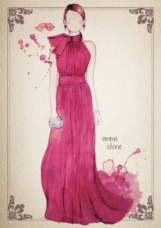 Watercolor Oscar Dresses by Camilla Gray