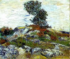 """A fine-art giclée reproduction on canvas of """"The Rocks with Oak Tree"""" by Vincent van Gogh. This painting was created while Van Gogh was living in. Vincent Van Gogh, Art Van, Desenhos Van Gogh, Van Gogh Arte, Van Gogh Pinturas, Kunsthistorisches Museum, Van Gogh Paintings, Canvas Paintings, Watercolor Paintings"""