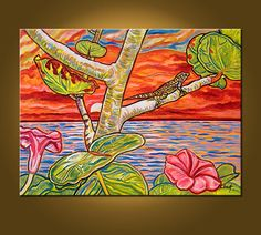 Tropical Sunset  18 x 24 inch Original Oil by ElizabethGraf, $129.00